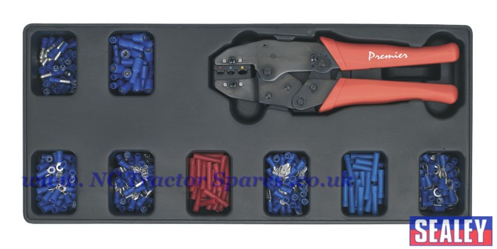 Tool Tray with Ratchet Crimper & 325 Assorted Insulated Terminal Set